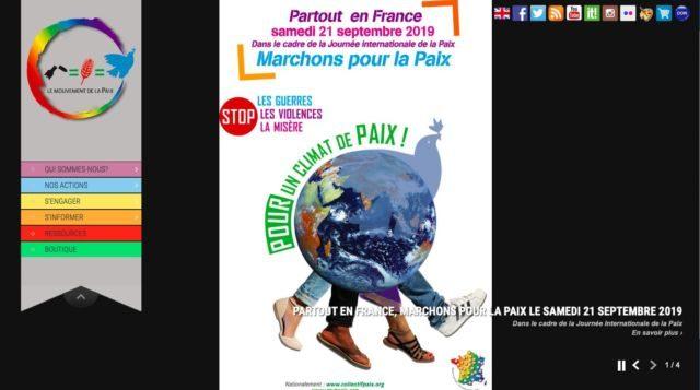 Marche pour la paix organisée le 21 septembre à Grenoble © mvtpaix.org (Capture d'écran)