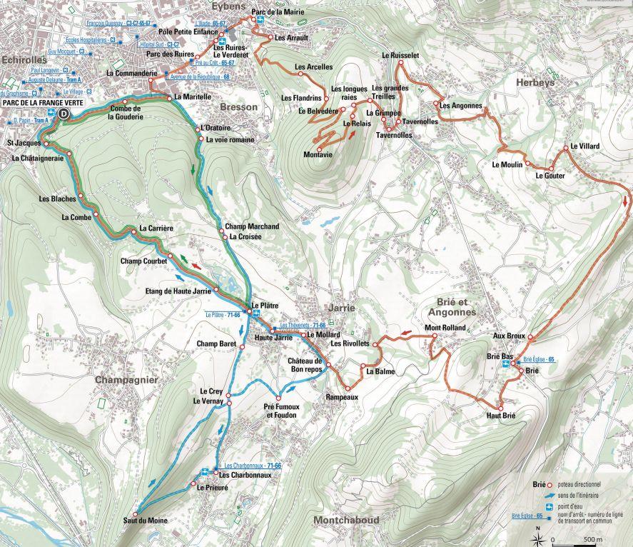 Les trois itinéraires de trail de la Frange Verte d'Échirolles : en vert le facile (8,2 km, 255 m de dénivelé positif), en bleu le moyen (15,7 km, 320 m de dénivelé positif) et enfin en rouge le difficile (25,6 km, 705 m de dénivelé positif). © DR