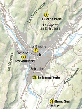 Les cinq sites où se trouvent les quinze nouveaux itinéraires permanents de trail sur la métropole grenobloise. © DR