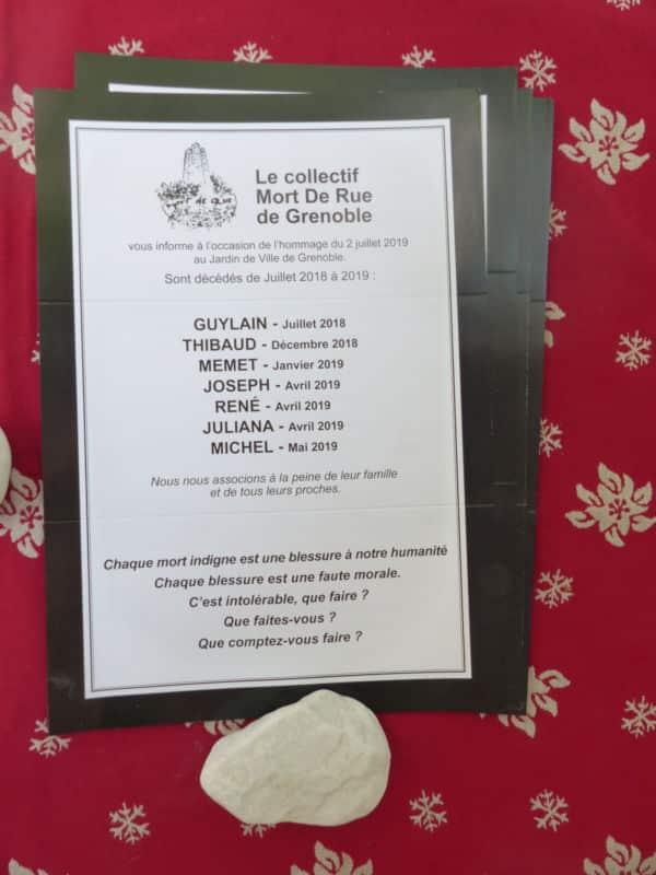 Liste des SDF morts dans la rue à Grenoble entre juillet 2018 et mai 2019. En juin 2019, 6 autres SDF sont décédés dans les rues de Grenoble © Nina Soudre - Placegrenet.fr