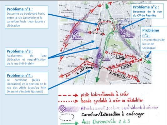 Synthèse du diagnostic du plan vélos-piétons du quartier Foch-Alliés-Libération