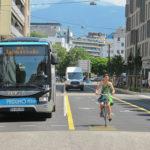 Portion de la chronovélo sur les boulevards Augutte Sembat et Lyautey, aménagée au centre de la chaussée, 2 juillet 2019 © Séverine Cattiaux - Placegrenet.fr