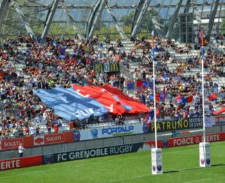Le stade des Alpes en 2016 avant un match du FC Grenoble rugby. © Laurent Genin