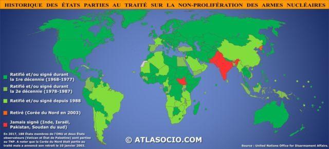 Grenoble rejoint l'appel des maires pour le désarmement nucléaire deux ans après l'adoption du Traité d'interdiction des armes nucléaires à l'Onu.Adoption et ratification du Traité de non-prolifération de 1968 © Atlassocio.fr