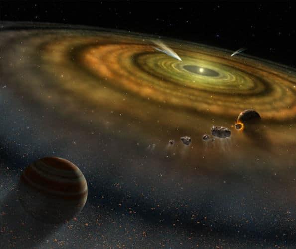 Processus de formation planétaire, incluant des exocomètes et d'autres planétésimaux, autour de Beta Pictoris (vue d'artiste NASA). DR