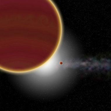 Vue d'artiste du système β Pictoris. Au moins deux planètes géantes, âgées de 20 millions d'années tout au plus, orbitent autour de l'étoile (non visible) : β Pictoris c, la plus proche, qui vient d'être découverte, et β Pictoris b, plus éloignée. Le disque de poussières et de gaz est visible à l'arrière-plan. © P Rubini / AM Lagrange