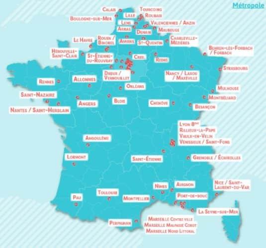 Cartes des territoires de la métropole labellisés Cités éducatives. © Éducation nationale