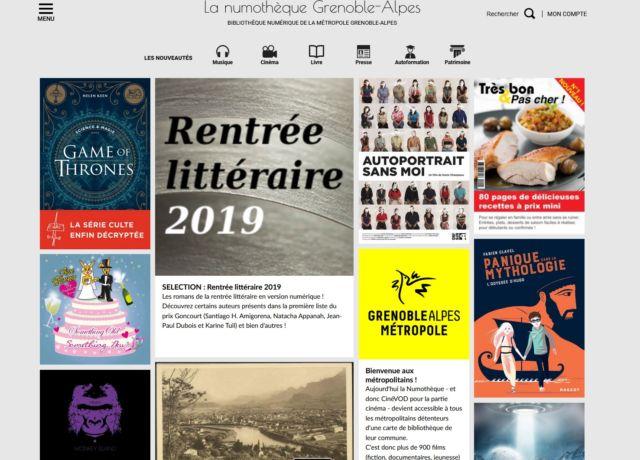 Page d'accueil de la numothèque Grenoble-Alpes
