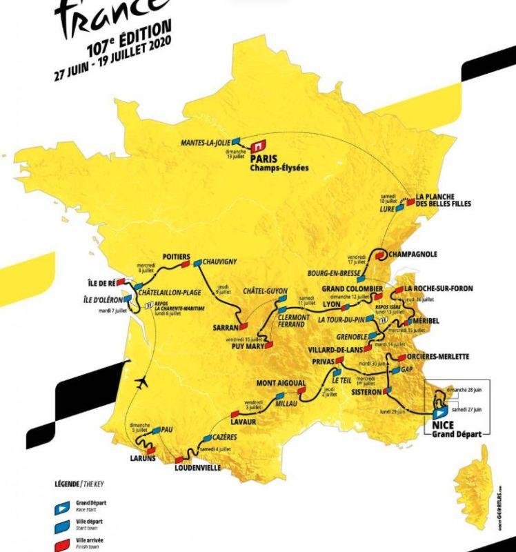 La carte du Tour de France 2020. © Geoatlas.com