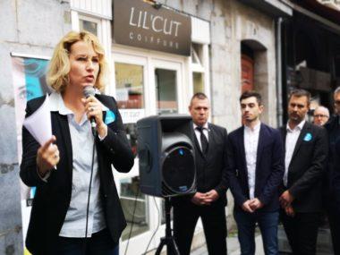 Émilie Chalas lors de l'inauguration de son local de campagne. © Joël Kermabon - Place Gre'net