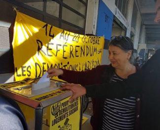 Référendum d'initiative citoyenne à la Villeneuve mercredi 16 octobre 2019. © Séverine Cattiaux - Place Gre'net
