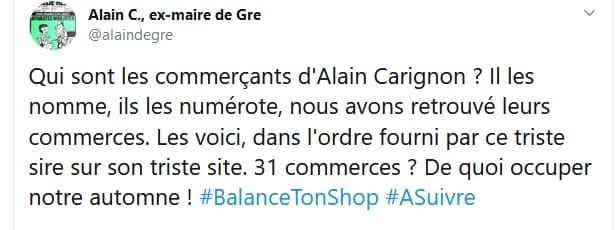 Le message du compte Twitter siglé #balancetonshop s'accompagnait de la liste, publique, des soutiens d'Alain Carignon avec les noms des commerçants cerclés de rouge.