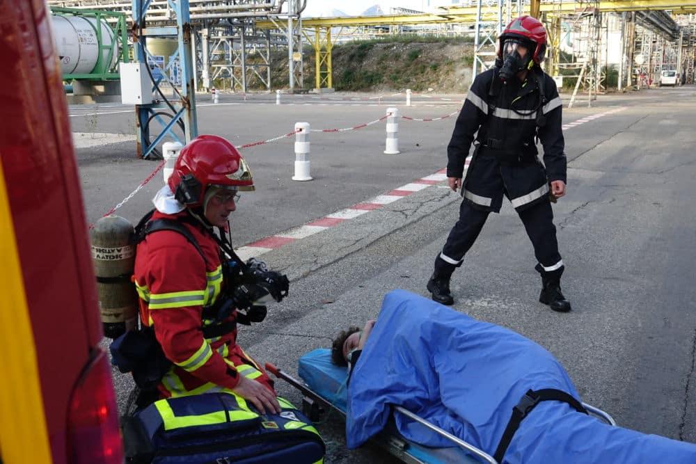 Des blessés sont simulés au cours des exercices de sécurité, pour entraîner la réactivité des secouristes. © Raphaëlle Denis - Place Gre'net