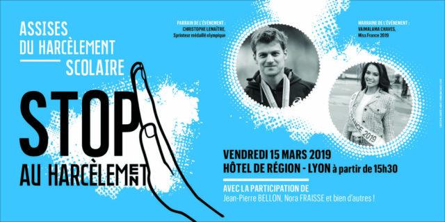 L'affiche des assises du harcèlement scolaire organisées au mois de mars par la Région. © Région Auvergne-Rhône-Alpes