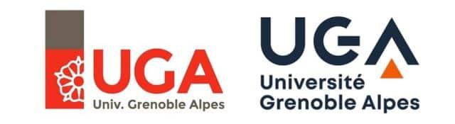 Nouveau logo de l'UGA à l'occasion de l'intégration sous sa bannière de l'INP, Sciences-Po et l'Ensag. À gauche, l'ancien logo de l'UGA. À droite, celui qui sera en vigueur au 1er janvier 2020. © UGA