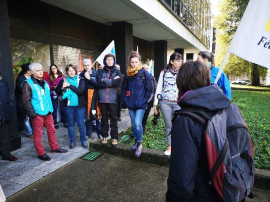 Des enseignants se sont rassemblées devant le rectorat de Grenoble ce mercredi 6 novembre 2019 pour dénoncer leur malaise face aux conditions de travail.© Joël Kermabon - Place Gre'net