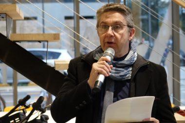 Christophe Ferrari, président de la Métropole, à l'inauguration de la nouvelle agence Métrovélo le 22 novembre © Raphaëlle Denis - Place Gre'net