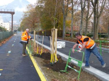Ouvriers, travaux rue Général Mangin dans le cadre du développement de Chronovélo, le 25 novembre 2019. © Manon Heckmann - Placegrenet.fr
