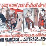 Affiche de l'Union française pour le suffrage des femmes. Coll. Archives départementales de l'Isère.