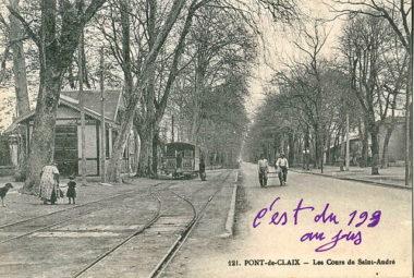 Une station de tramway à Pont de Claix en 1930. © Wikipédia - Ancien tramway de Grenoble