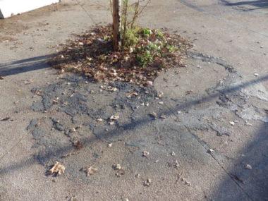 Les traces des feux de poubelles sont encore visibles aux abords du lycée Vaucanson © Thomas Courtade - Place Gre'net