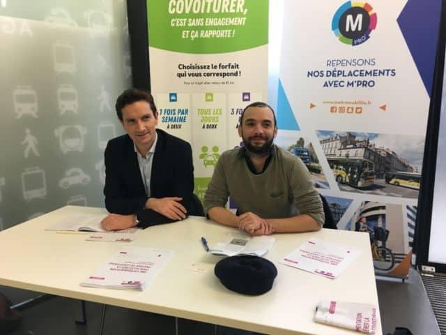 Olivier Binet, fondateur et président de la société Karos et Yann Mongaburu, président du SMTC. © Boris Dehont - SMTC