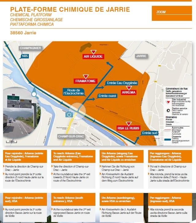 Un livret propose les itinéraires recommandés pour les sites industriels de la région, comme ici la plate-forme chimique de Jarrie.