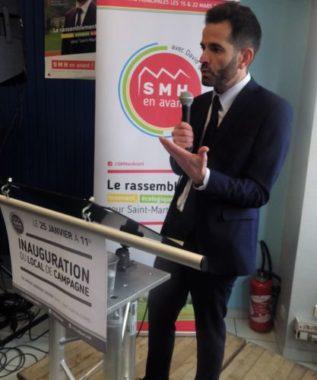 Le maire de Saint Martin d'Hères, David Queiros, lors de l'inauguration de son local de campagne samedi 25 janvier. © Thomas Courtade - Place Gre'net