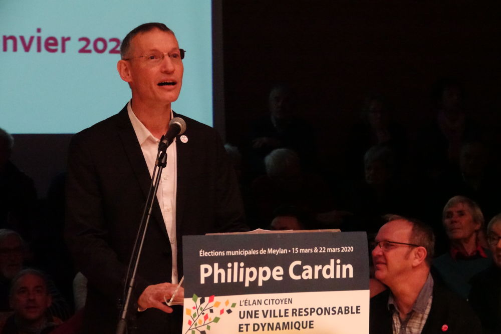Philippe Cardin à son lancement de campagne. © Raphaëlle Denis - Place Gre'net