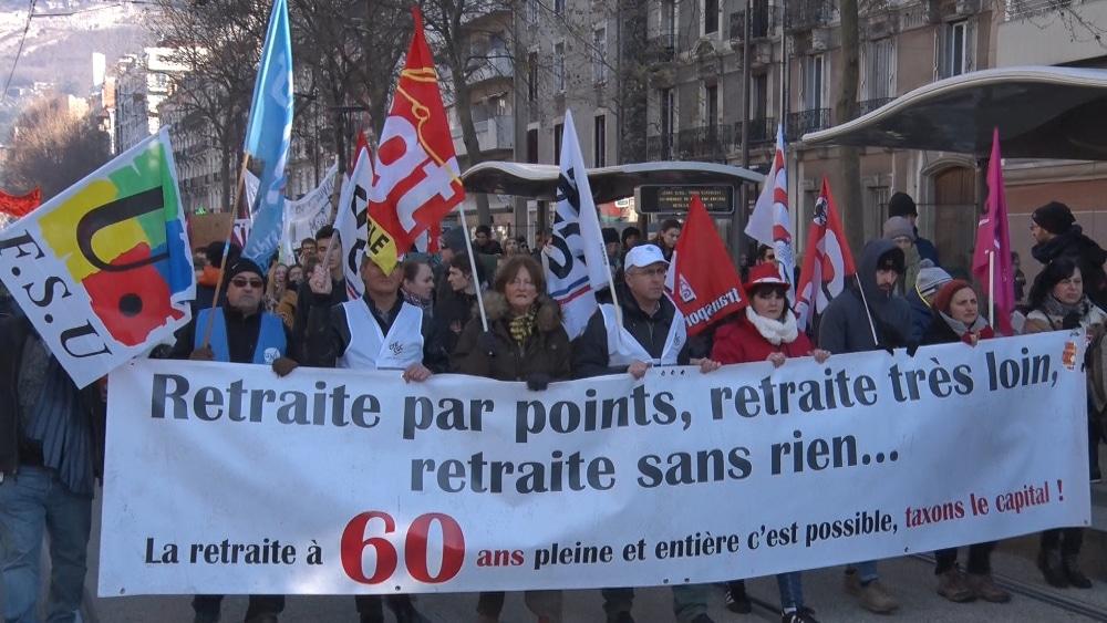 Manifestation contre la réforme des retraites à Grenoble le 9 janvier 2020 © Joël Kermabon - Place Gre'net
