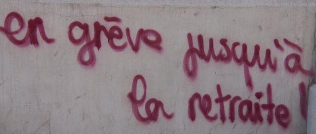 Sur un mur lors de la mobilisation contre la réforme des retraites. © Joël Kermabon - Place Gre'net