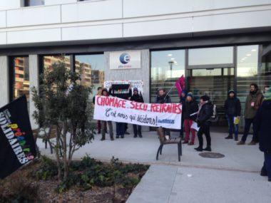 Manifestation contre la réforme de l'assurance-chômage. Mobilisation de chômeurs et précaires devant Pôle Emploi le 16 janvier 2020 contre la réforme de l'assurance chômage © Solidaires