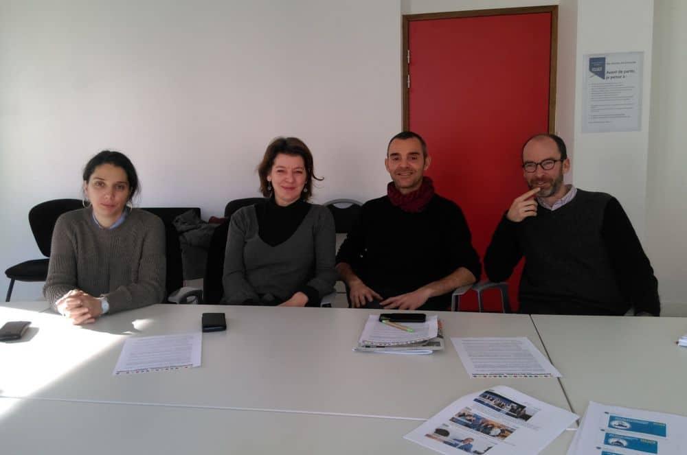 De gauche à droite : Nadia Kirat, Véronique Vermorel, Olivier Bertrand et Benjamin Trocmé du groupe RCSE © Florent Mathieu - Place Gre'net