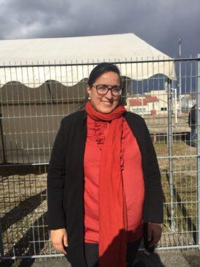 Amina Ghafir, présidente de l'AS-Grésivaudan, présente lors de l'inauguration du terrain de futsal au stade Auguste Delaune à Echirolles, mercredi 26 février 2020 © Ambre Croset