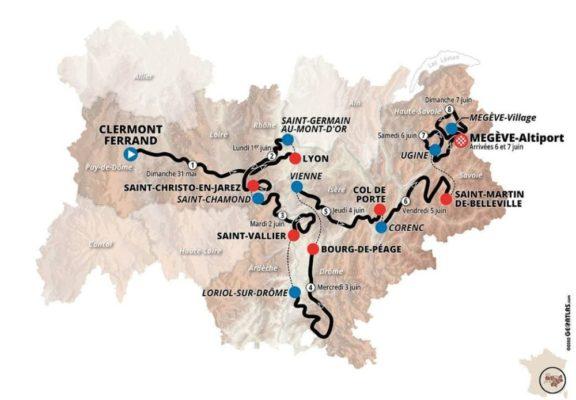 Carte du Critérium du Dauphiné 2020. © Geoatlas.com