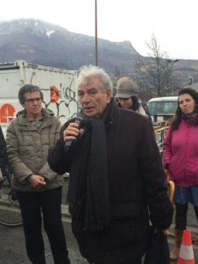 Discours du maire d'Echirolles Renzo Sulli lors de la visite de l'avancement des travaux du Chronovélo 3 - mardi 25 février 2020 © Ambre Croset