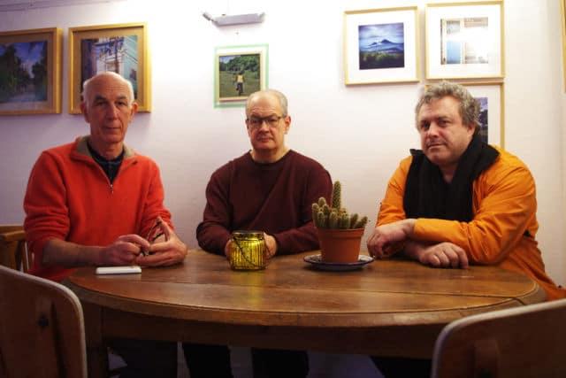 Marc Soulhol accuse la liste d'Éric Piolle de discriminationMarc Soulhol (au centre) a rejoint la liste La Commune est à nous, avec Guy Tuscher (à gauche) et Bruno Delescure (à droite). © Anissa Duport-Levanti - Place Gre'net