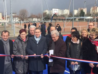 Inauguration du terrain de Futsal au stade Auguste Delaune à Echirolles - avec Christophe Ferrari et Renzo Sulli - mercredi 26 février 2020 © Ambre Croset