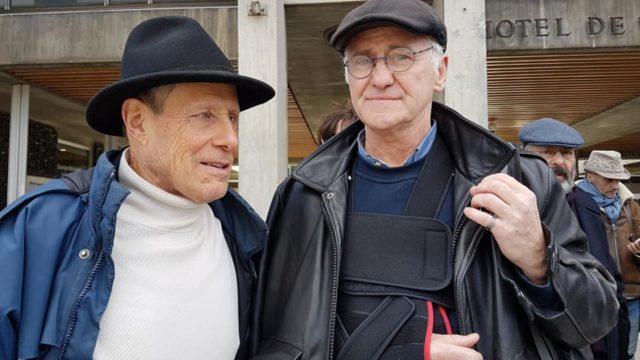 Pierre Saccoman et Yves Delmonte, victimes de violences policières à la fin de la manifestation du 20 février contre les retraites à Grenoble, vendredi 21 février 2020. © Séverine Cattiaux - Place Gre'net