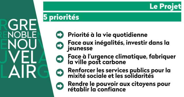 Les cinq priorité de la liste Noblecourt. © GNA