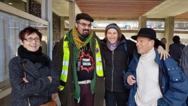 Quatre colistiers de La commune est à nous !, sur le parvis de l'hôtel de ville de Grenoble, vendredi 21 février 2020 © Séverine Cattiaux - Place Gre'net