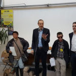 Alain Denoyelle, Pascal Clouaire, Eric Piolle maire EEVL, et Sonia Assia (cachée à droite) tous quatre élus de la majorité, avec deux habitantes impliquées dans le Lîeu, lauréat du budget participatif 2017, lors de l'inauguration de la structure le 16 janvier 2020 © Séverine Cattiaux - Place Gre'net