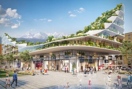 Grenoble, ville natureVue d'artiste de l'immeuble végétalisé qui remplacerait l'Office de tourisme. © UNRG