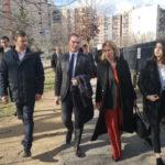 De gauche à droite : Olivier Six, Olivier Dussopt, Émilie Chalas et Laura Mery lors de la visite de la Villeneuve. © Joël Kermabon - Place Gre'net