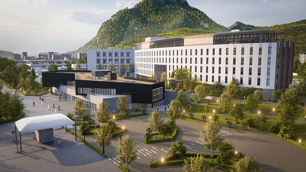 Inauguré ce 31 janvier à Grenoble, Y. Spot est le premier centre d'innovation ouverte et collaborative du CEA dédié aux transferts technologiques.Vue d'artiste de l'Y. Spot et ses deux bâtiments : l'Y. Spot labs (premier plan) et le futur Y. Spot partners. © CEA + AR-LYNK