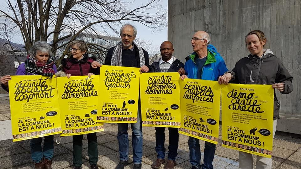 Les six affiches de la campagne de La commune est à nous ! mardi 3 mars 2020 © Séverine Cattiaux - Place Gre'net