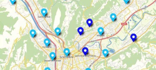 Carte interactive Municipales 1er tour Grenoble et sa région