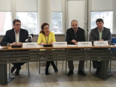 De gauche à droite : Laurent Grange, Monique Sorrentino, Olivier Épaulard et Guillaume Debaty. © Joël Kermabon - Place Gre'net