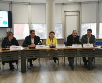 De gauche à droite : Marie-Reine Mallaret, Laurent Grange, Monique Sorrentino, Olivier Épaulard et Guillaume Debaty. © Joël Kermabon - Place Gre'net