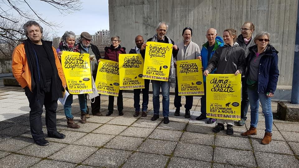 Colistiers de La commune est à nous ! lors de la présentation du programme, mardi 3 mars 2020 © Séverine Cattiaux - Place Gre'net